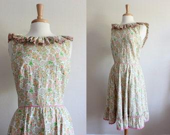 1960s Dress / Vintage Ruffle Trim Peach Floral Low Back Dress