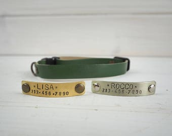 Cat Collar Breakaway, Green Cat Collar, Leather cat Collar, Breakaway Cat Collar, Dog Collar, Small Dog Collar, Personalized dog collar