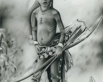 Native American Giclee Print of a Graphite Drawing Pulls The Bow Available to Order Now