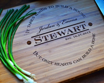 "Personalized Cutting Board ""Hands and Hearts"" Engraved Bamboo Wood for Housewarming, Wedding, Anniversary Gift"