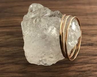 Gold Stacking Rings 14k Gold Filled Stacking Ring Hammered Ring Ultra Thin Gold Ring Dainty Ring Midi Ring Set Minimalist Ring Gift for Her