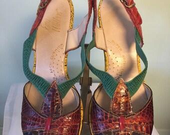 1960s Easy Walkers Multicolored Snakeskin Peeptoe Sandals