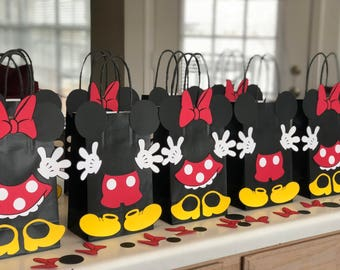 Mickey and Minnie Mouse Birthday Party (Set of 10) Favors/ Goodie/ Goody/ Candy/ Treat Bags/ Supplies/ Decoration