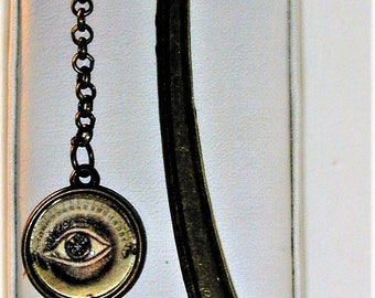 Goth Human Eye & Bat Charm Metal Bookmark 5""