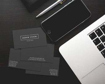 Black Photography Lens Viewfinder Business Cards Template PSD - Business cards template psd