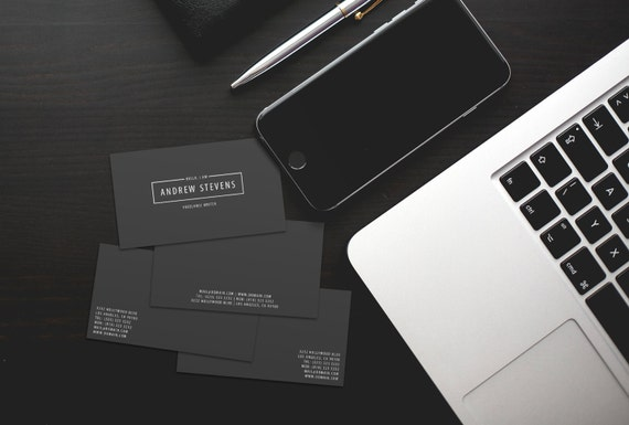 Minimal dark business cards template psd instant download colourmoves Choice Image