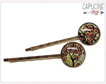2 tree of life hair pins - Tree of life hair bobby pins - Hair barrettes with glass dome