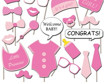 Girl Baby Shower Photo Booth Props, Printable Photo Props, Party Props, Instant Download - DP409