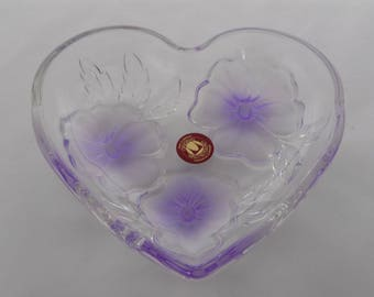 Vintage Waltherglas Heart Shaped Glass Bowl / Dish With Lilac Flowers