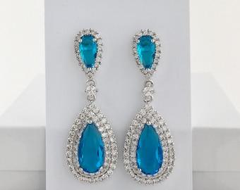 Blue Crystal Earrings Aqua Cubic Zirconia Earrings Aquamarine Teardrop Earrings Bridal Aqua Crystal Earrings Aqua blue Bridesmaid Jewelry