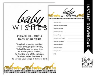 Animal Safari Baby Shower Baby Wishes / Black Gold Baby Wishes / Aztec Boho Tribal Baby Wishes / DIY Printable /  *Digital file*