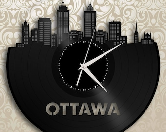Canada Ottawa Clock - Canadian Cityscape Art, Wall Decor, Canadian Gift, Ottawa Skyline, Wall Decoration Idea, Vinyl Wall Deco Sign