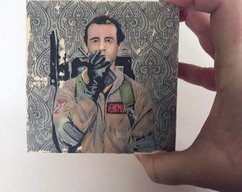 Wood Panel Bill Murray Ghostbusters Art Print Painting on Wood Ghostbusters Art Print On Wood Panel Pop Art Painting Great Geek Gift Decor