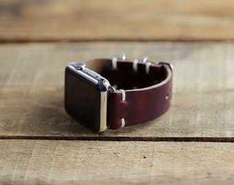 Leather Apple Watch Band | 38mm 42mm iWatch Strap | Series 1 Series 2 Series 3 Apple Watch | Horween Color 8 Chromexcel | Slide Hardware