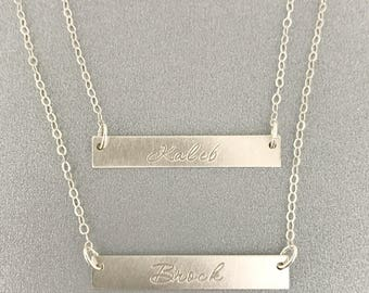 Two Layer Name Bar Necklace, Layering Necklace, Dainty Name, Initial Necklace, Bridesmaid Gift, Gift For Her, Silver Bar Necklace