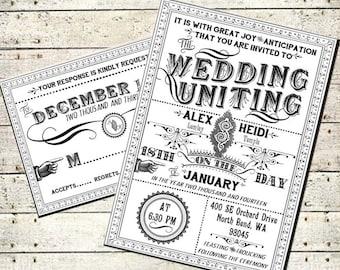 Delphine - Printable DIY Victorian Steampunk Wedding Invitation Suite - Vintage Typography - Customized Wedding Invitation
