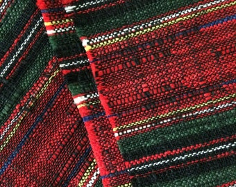 Red and Green Woven Stripe Fabric