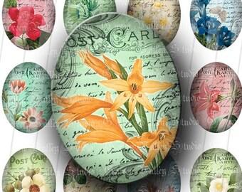 INSTANT DOWNLOAD Vintage Postcards Digital Collage Sheet Postcards Flowers Handwriting Large Ovals 30 x 40 mm for Pendants Magnets (OL31)