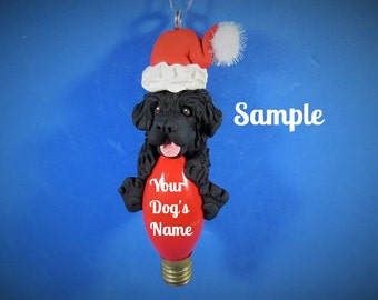 Newfoundland Santa dog Christmas Light Bulb Ornament Sally's Bits of Clay PERSONALIZED FREE with dog's name