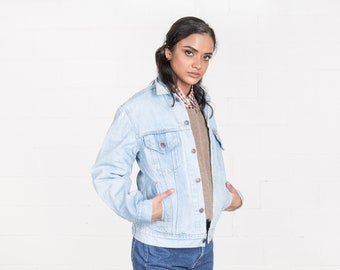 LEVIS DENIM JACKET oversize vintage jean jacket women 90S light wash coats / Small