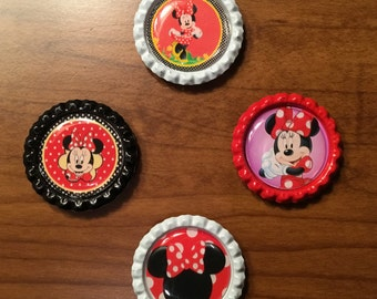 Handmade Minnie Mouse BottleCaps Magnets, Set of 4