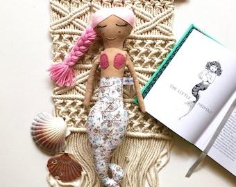 Pink Haired Mermaid Doll// Handmade Doll// Fabric Doll// Cloth Doll// Rag Doll// Mini Mermaid Doll// Mermaid Toy// Keepsake Doll
