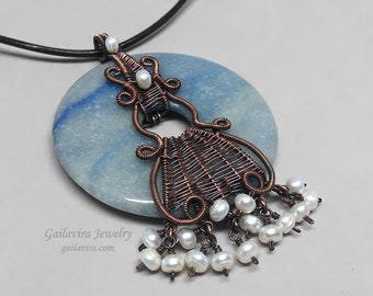 Blue Aventurine and White Pearl Gemstone Donut Copper Wire Wrapped Pendant on Brown Leather Necklace