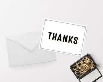 Gilded Finch Letterpress Style Thank You Notecard Set