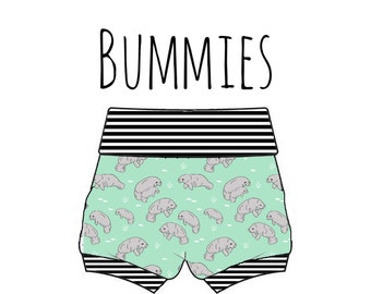 PREORDER manatee bummies, manatee diaper cover, baby manatee shorts, manatee baby shorts, manatee print shorties, manatee bummies, manatees