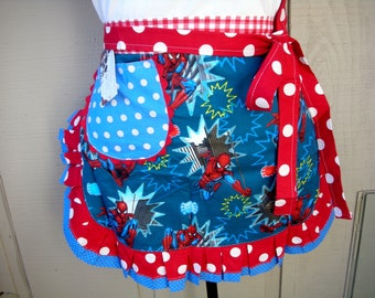 Womens Aprons Womens Spider Man Aprons Super Hero Aprons Waist  Spider Man Aprons Teachers Gifts Annies Attic Aprons Blue Aprons Red Dots