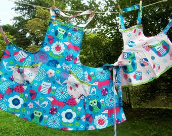 Happy Owl aprons, adult and youth, prices below