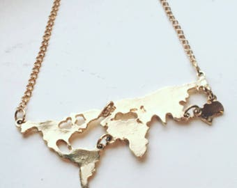 Map neckace, Gift for her, travel gift, world map necklace, map jewelry, boho jewelry, coexist jewelry, earth jewelry, earth necklace