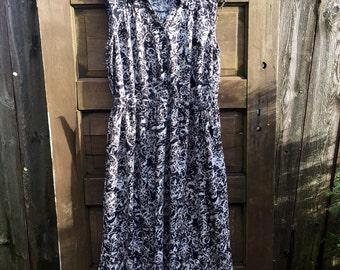 Vintage 90's Black Abstract Print Rayon Sleeveless Pin Up Style Maxi Dress by Erika Size Medium