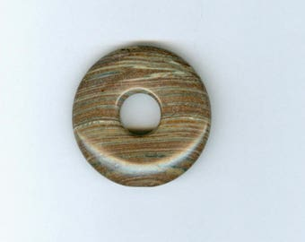 Brown Lined Focal, 35mm Brown and Cream Lines Gemstone PI Donut Focal Pendant 10100
