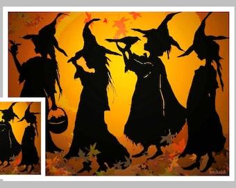 Halloween Card, Witches, orange #8