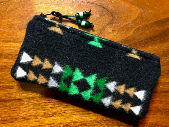 Wool Sunglasses Case / Glasses Case / Tampon Case / Zippered Pouch Black Chief Joseph