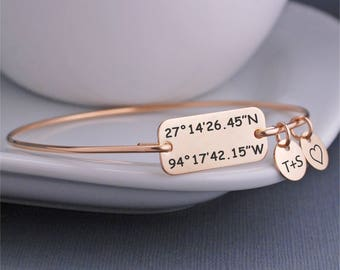 Gold Latitude Longitude Bracelet, Anniversary Gift for Wife, Valentine's Day Gift for Her, Custom Coordinate Jewelry, Location Jewelry