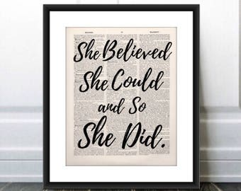 She Believed She Could and So She Did Quote,Inspirational Art Print,Vintage Print,Statement Poster,Gift for Friend, Dorm Art, Daughter Gift
