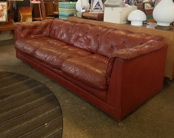 Vintage mid century leather sofa *Estimated shipping message for quote