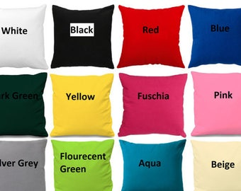 """Plain Cotton Cushion Cover Sizes 16"""" to 30"""" Available now with zip"""