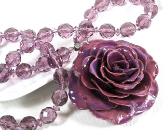 Large Real Rose Necklace - Purple, Statement Necklace, Flower Necklace, Real Flower Jewelry, Nature Jewelry, Crystal Necklace