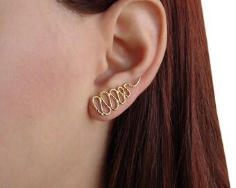 Gold ear cuff earrings, quirky earrings, snake earrings, ear climber earrings, ear crawler earrings, snake earcuffs