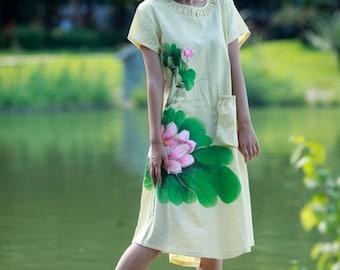 Maxi Dress Summer Dress Long Dress Hand Painted Long Maxi Dress with Pocket Lotus Women's Summer Dress Day Dress Party Dress