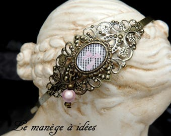 "Vintage ""the bow""bronze metal filigree headband"
