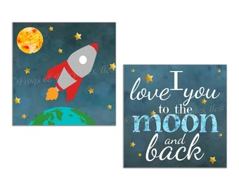 Outer Space I Love You to the Moon and Back Canvas Wall Art Prints