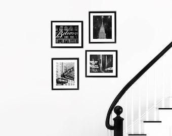 SALE, Black and White New York Photography, Travel Gift, New York City Prints, 4 Photo Set