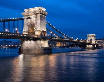 Chain Bridge on a calm Hungarian Night, Budapest Hungary Photograph: Chain Bridge in Blue