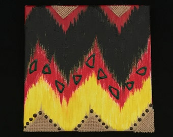 African sunset themed modern art inspired by Ikat designs