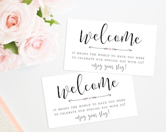 Printable Wedding Welcome Bag Tags, Hotel Bag Labels, Out of Town Guests, Destination Wedding, Thank You Tags, Welcome Tags