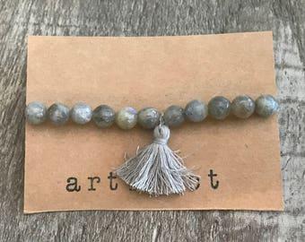 Grey Gemstone Bracelet with Tassel